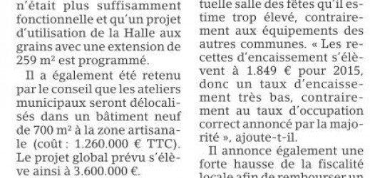 Est Républicain du 17 mars 2016 –  Projet de nouvelle salle des fêtes à L'Isle-sur-le-Doubs